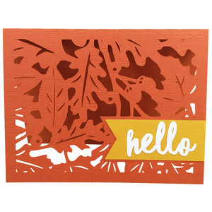 hello fall leaf card