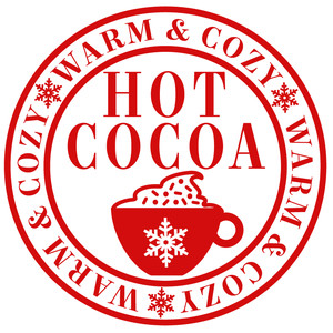 warm cozy cocoa label