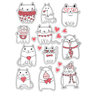 ml lined love cats stickers