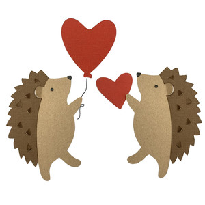 hedgehogs with heart balloons