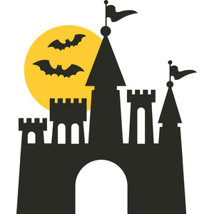 haunted castle with moon and bats