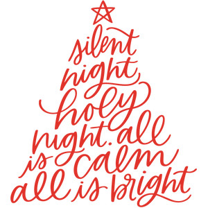 handwritten silent night lyrics christmas tree