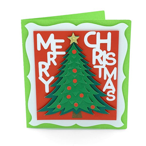 merry christmas tree and stars card