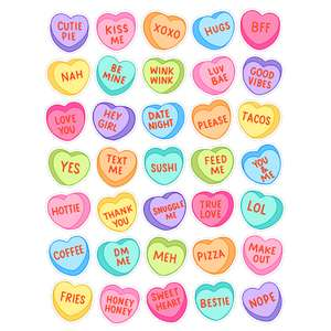 conversation heart stickers