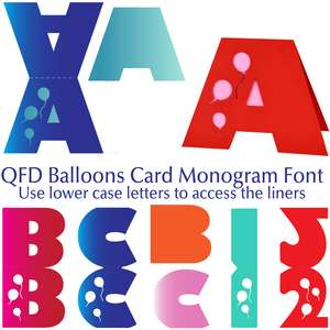 qfd balloon card monogram font