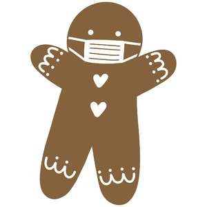 gingerbread man with mask