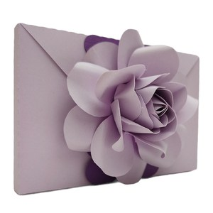 envelope with 3d rose flowers