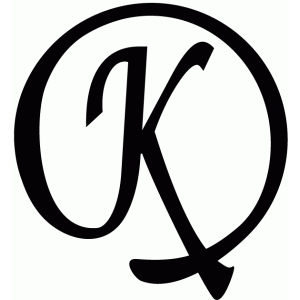 round flourish monogram - k