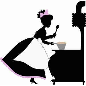 vintage lady cooking silhouette