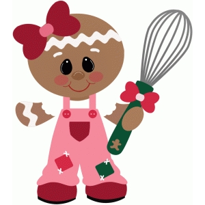 gingerbread girl holding whisk