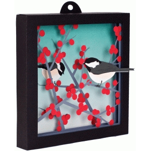 3d winterberry shadow box w/birds