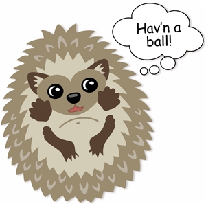animal hedgehog havin a ball