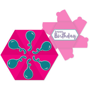 balloon hex-flap card