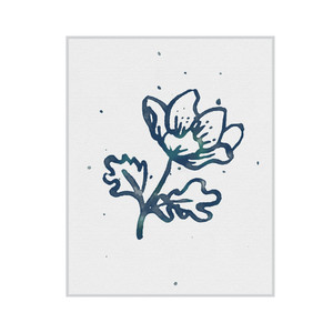 inked flower print and frame