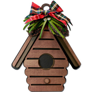 winter birdhouse ornament gift tag