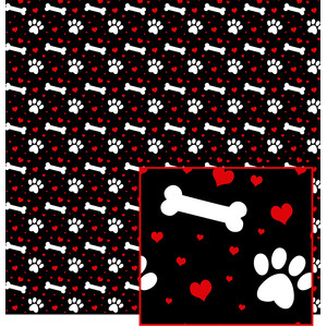 hearts, paws and bones pattern