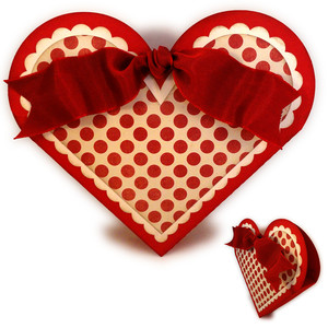 heart ribbon tied candy box