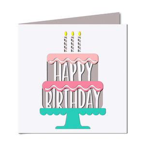 'happy birthday' cake cutout card