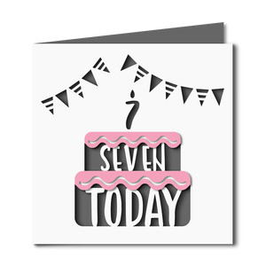 7 today cake cutout birthday card