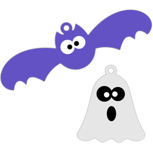 bat and ghost halloween tags
