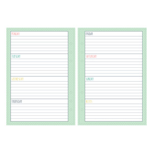 a5 and letter size weekly planner - lined
