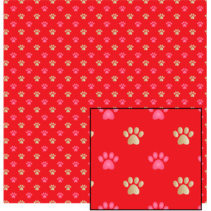 pink and gold paws and hearts pattern