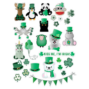 st. patrick's day critter sticker sheet