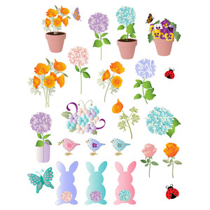 easter flowers and bunnies planner stickers
