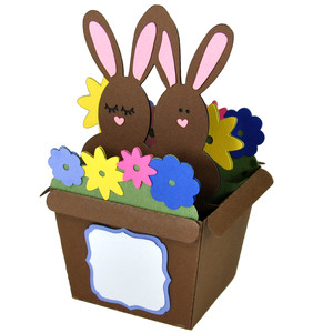 bunnies flower pot - card in a box