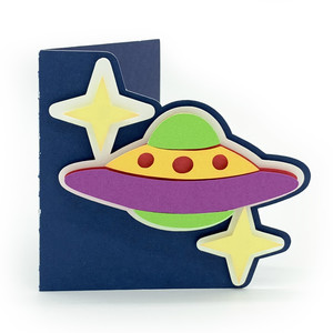 flying saucer in space card