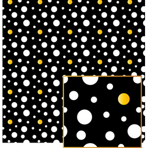 black and white dots plus yellow pattern