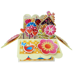 folk art floral pop up card in a box