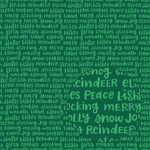 christmas words seamless pattern (green)