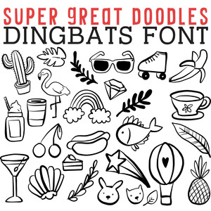 cg super great doodles dingbats