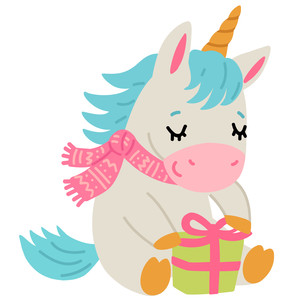 unicorn with christmas present