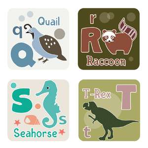 animal alphabet cards q to t