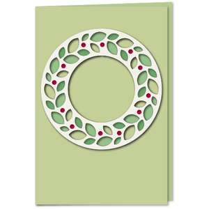 wreath ring leaves cutout 4x6 card