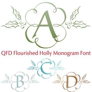 qfd flourished holly monogram font
