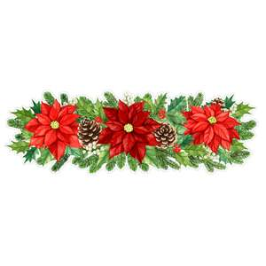 red poinsettias and fir boughs border
