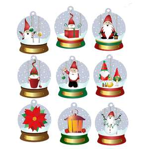 christmas gnomes snow globe tags