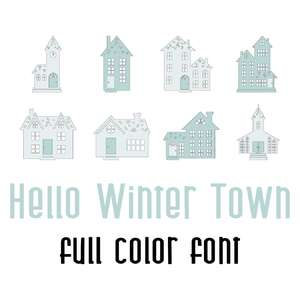 hello winter town full color font