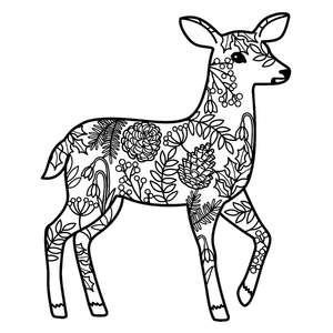 winter deer mandala coloring page