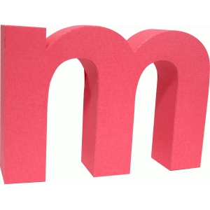 3d lowercase letter block m