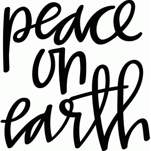 hand lettered peace on earth phrase
