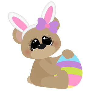 easter bear sitting with egg