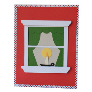 candle window pane card