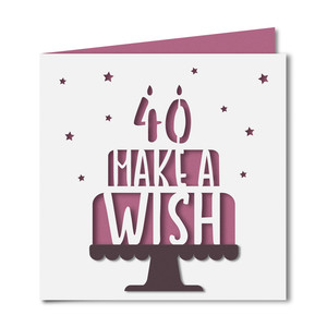 'make a wish' 40 birthday card