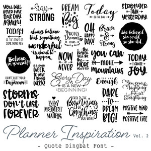 planner inspiration quote font