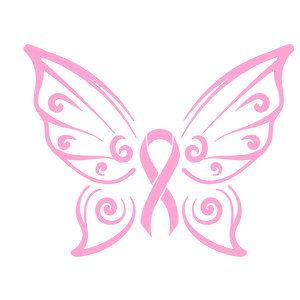 cancer awareness - butterfly wings with pink ribbon