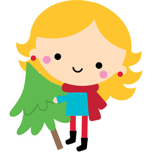 girl with tree - christmas town